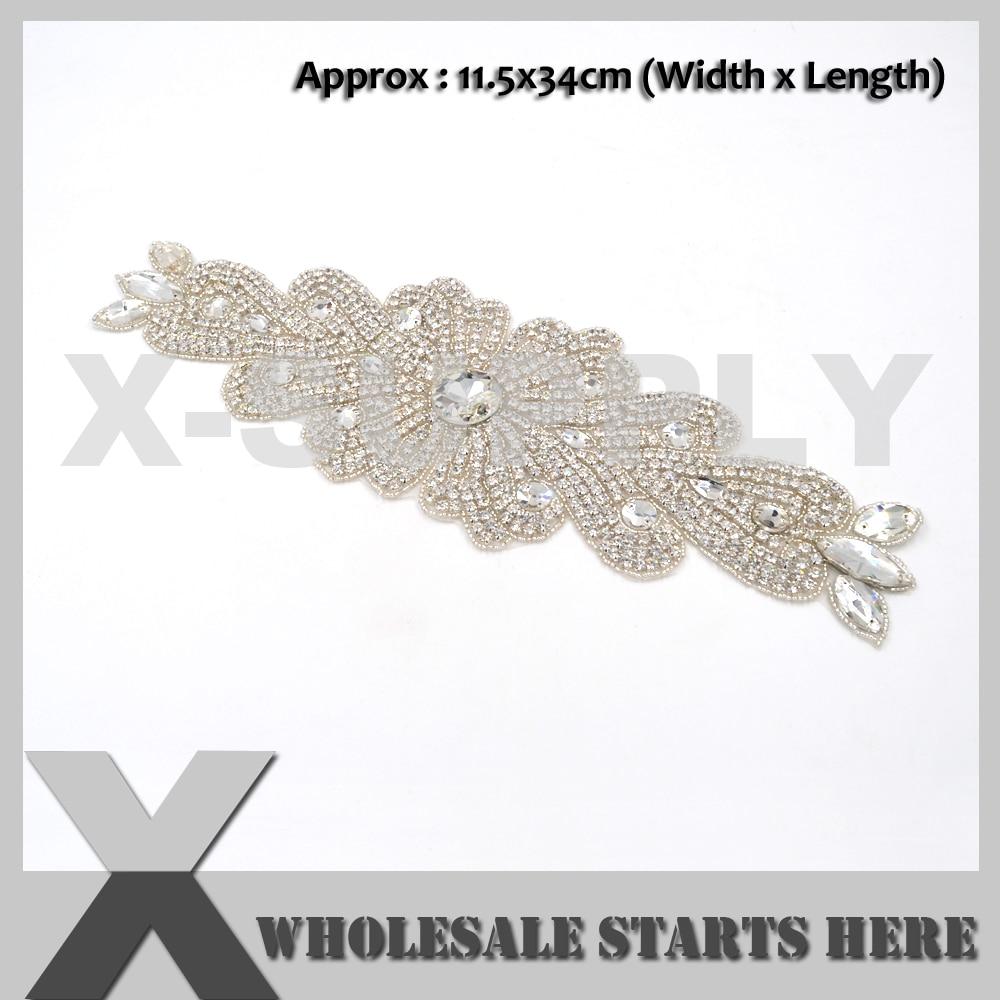 (34cm Length) Beaded Bridal Rhinestone Applique Patch With Iron On Backing for Sash,Wedding Bridal Dress Decoration,X1 RAT2493
