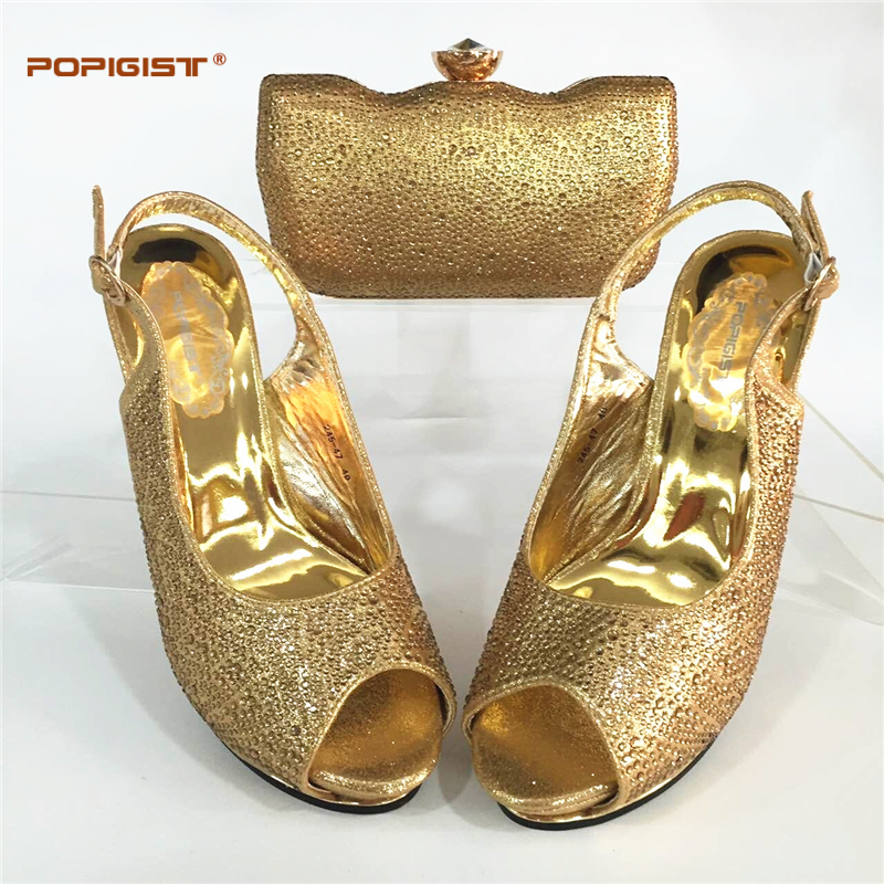 Mujeres Conjunto Rhinestone Y Para sliver gold Color wine Coincidir green De Matching Calidad Con Alta Bolsa Decorado Africano Zapatos Black Partes Oro FfBOwgzqY