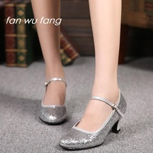 fan wu fang 2017 New Arrival Sequined Rubber Sole Ballroom Dancing Latin Shoes Tango Social Dance Shoes Heel 5.5CM 836