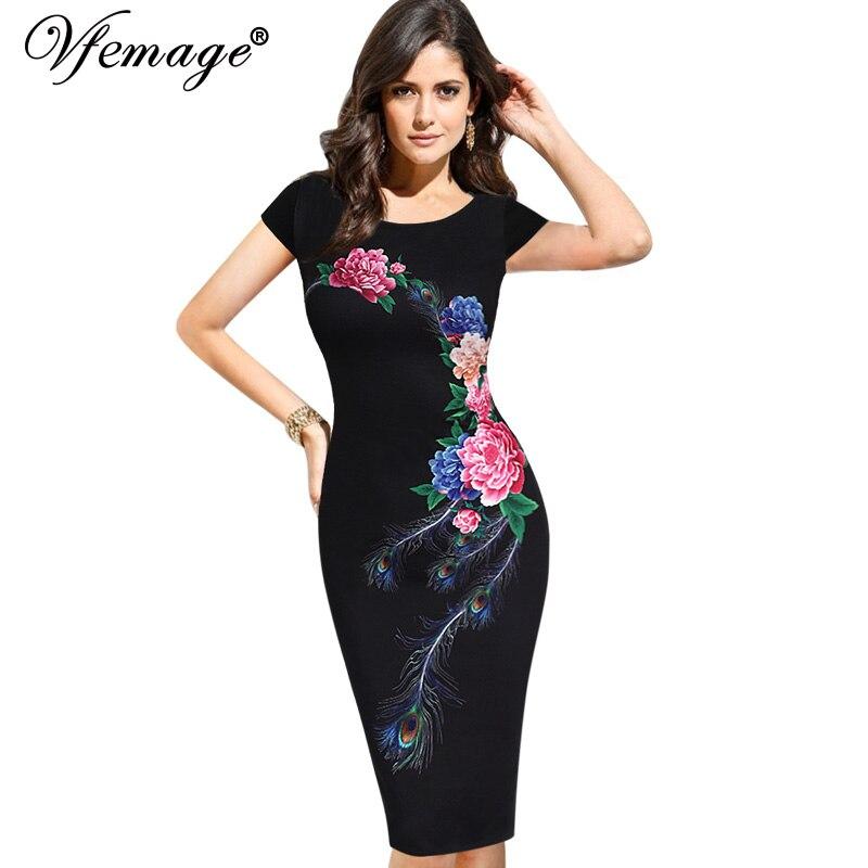 vfemage женские элегантные старинные цветочные летние цветок павлин тонкий отпечатано кинозвезды повседневная вечера партии оболочка bodycon платье 3035