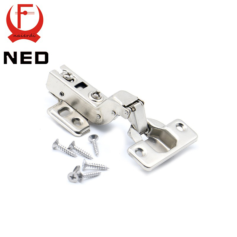 10PCS NED C Series Full Size Hinge Iron Door Hydraulic Hinges Damper Buffer Soft Close For Cabinet Cupboard Furniture Hardware 2pcs set stainless steel 90 degree self closing cabinet closet door hinges home roomfurniture hardware accessories supply