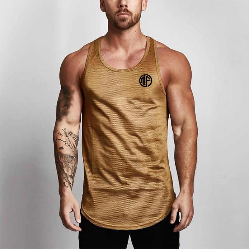 Nueva ropa de marca de verano Camisetas para hombres camisetas de tanque camisa equipo de culturismo de Fitness hombres de malla Stringer camiseta chaleco
