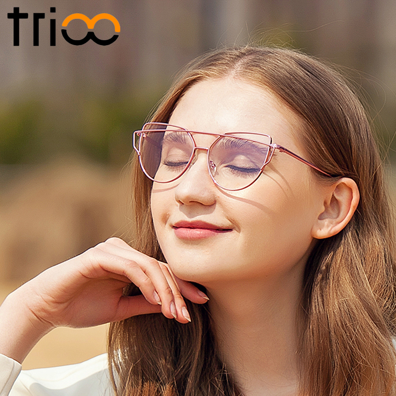 Trioo Logam Merah Muda Wanita Kacamata Bingkai Mata Kucing Fashion Desainer  Kacamata Lensa Transparan Glasses Frame Kacamata Wanita di Frame kacamata  dari ... 0693037379