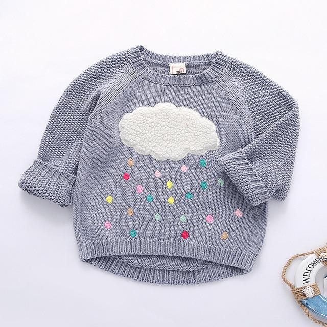 Crianças Camisola 2016 Novo Inverno Dos Desenhos Animados Nuvem Pingos de Chuva Meninas Do Bebê manga longa Malhas Blusas Quentes Crianças Pullover Roupas