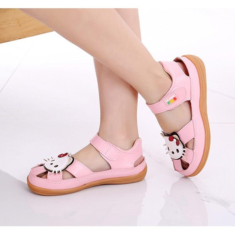 Letnie dziecięce sandały dla dziewczynki Śliczne kotki Skórzane - Obuwie dziecięce - Zdjęcie 2
