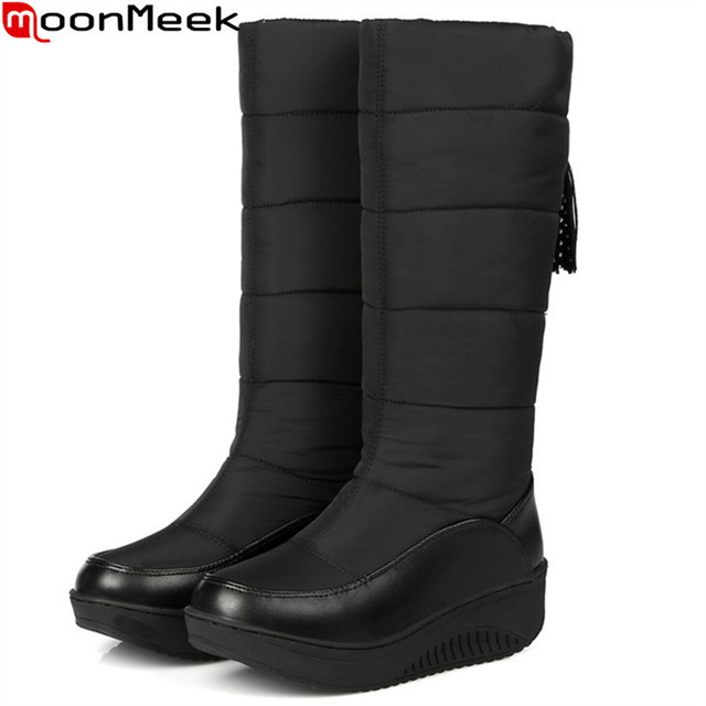 MoonMeek Plus size 35-44 fashion women boots Keep warm comfortable winter snow boots Down Waterproof ladies mid calf boots
