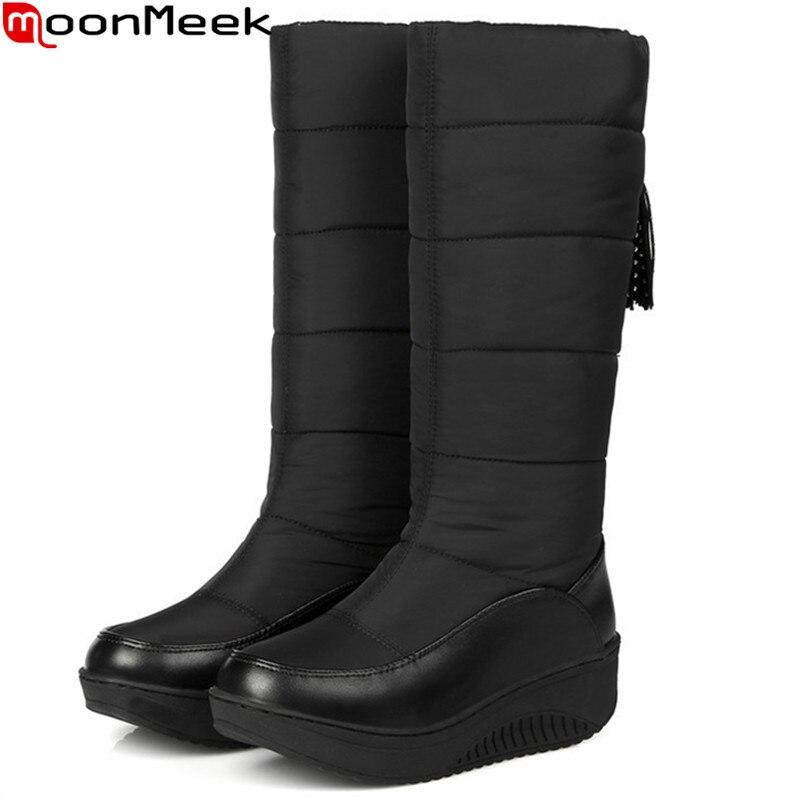 MoonMeek Plus size 35-44 donne di modo stivali Tenere In caldo confortevole d'inverno stivali da neve Giù Impermeabile signore metà polpaccio stivali