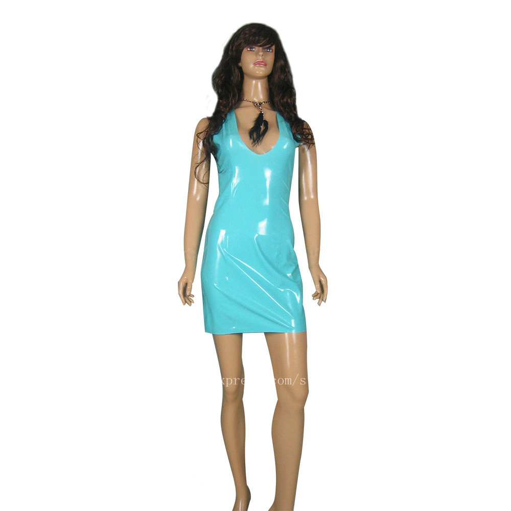 Femmes Main Robe Sans D'une fait Latex Nature Seule Pièce Manches Bleu C7qXRwn