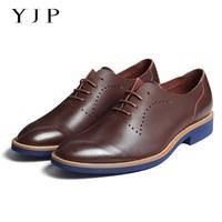 YJP Men Vintage Oxford Shoes Black Brown Green Blue Leather Flats Party Wedding Dress Shoes Lace