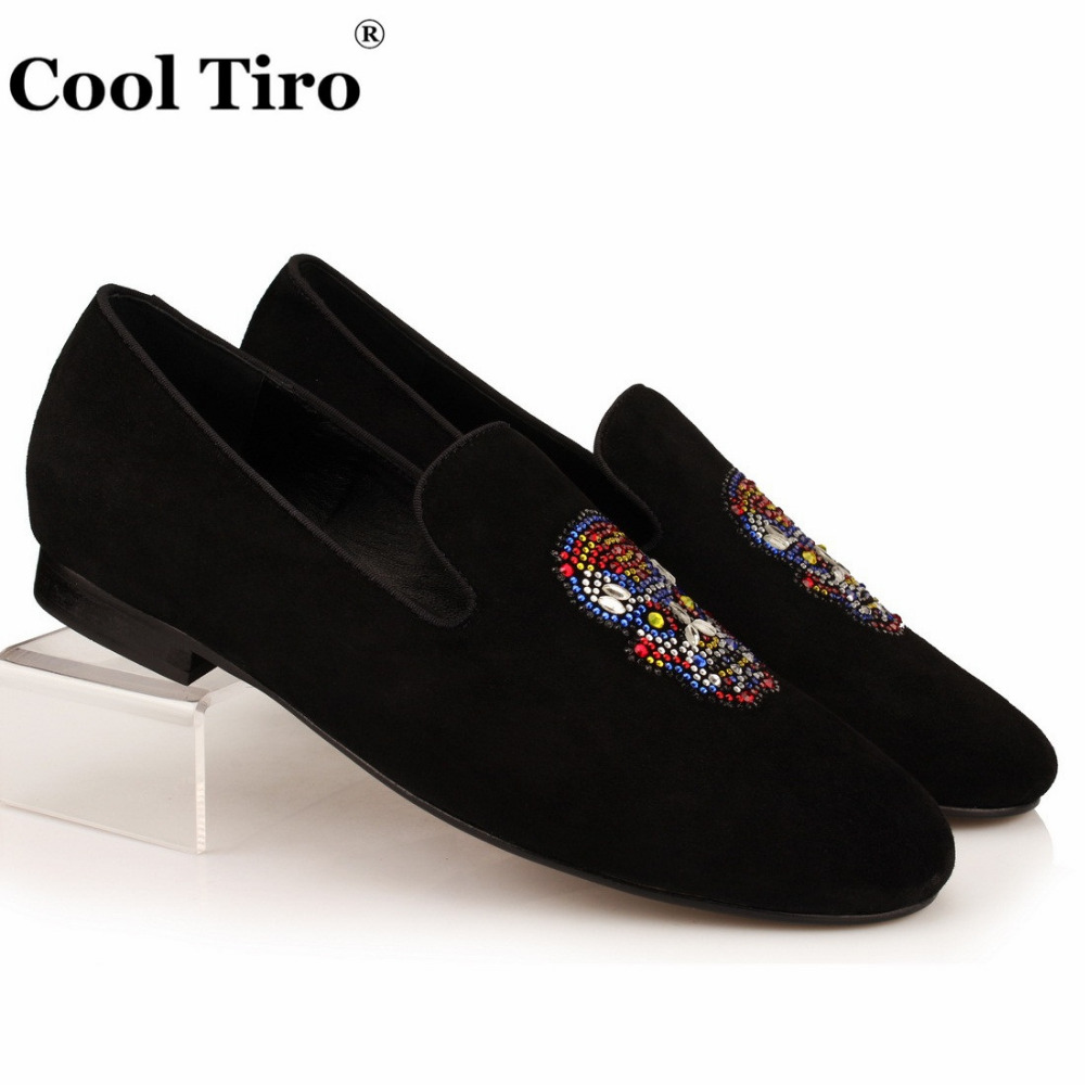 Black dress sandals for wedding - Cool Tiro Black Suede Slippers Crystal Skull Men Loafers Flats Wedding Men S Dress Shoes Moccasins Man