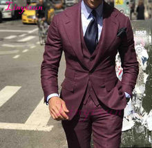 Linyixun New Arrivals One Button Burgundy Groom Tuxedos Notch Lapel Groomsmen Best Man Mens Wedding Suits(China)