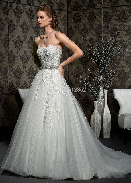 Vestido De Noiva Princesa Com Renda Strapless Lace Long Train ...