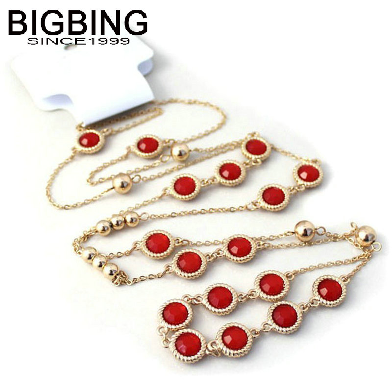 BIGBING Jewelry Red Black Crystal Golden Silver Chain Necklace Golden Chain Necklace Jewelry J008