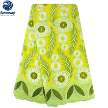 5 Yards Swiss Cotton Fabric African Premium Voile Lace High Quality Wedding 2015 For Dresses SL03009