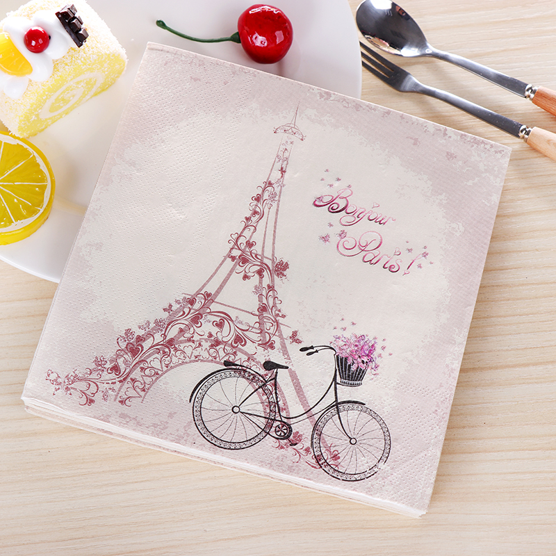 New Vintage Bicycle Eiffel Tower Paper Napkins Cafe&Party Tissue Napkins Decoupage Decoration Paper 33cm*33cm 20pcs/pack/lot 20pcs lot ls30 to252