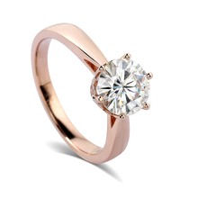 Spiffing 1 Carat Moissanite Ring 14K Yellow Gold Setting Forever Certified Engagement Romantic Jewelry
