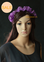 SALE!Purple sinamay fascinator hat with sinamay flowers and pearls for wedding. high quality sinamay fascinator headwear sinamay base with feather show hair accessories millinery cocktail hat 17 colors myq109
