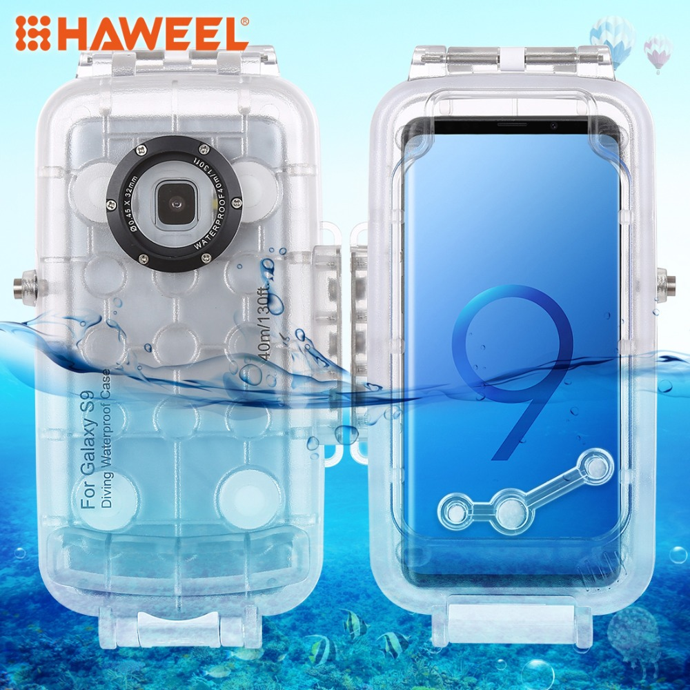 HAWEEL 40m 130ft Waterproof Diving Housing Photo Video Taking Underwater Case for SamsungGalaxyS9 Only Support Android8