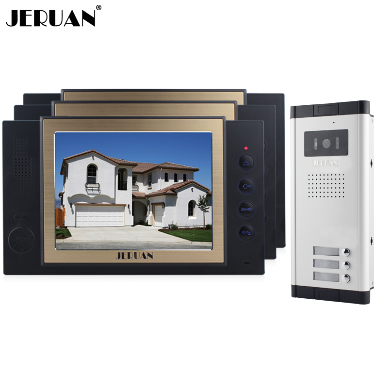JERUAN Apartment 8 inch LCD color Video Door Phone Record Intercom System 700TVL IR COMS Camera For 3 Household 8GB SD CARD jeruan home 7 video door phone record intercom system kit rfid access ir camera 700tvl analog camera 8gb sd card e lock page 8