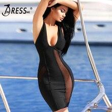 INDRESSME Free Shipping 2017 Black Women Bandage Celebrity Full Long Sleeve V Neck Elastic Carpet Party Dresses