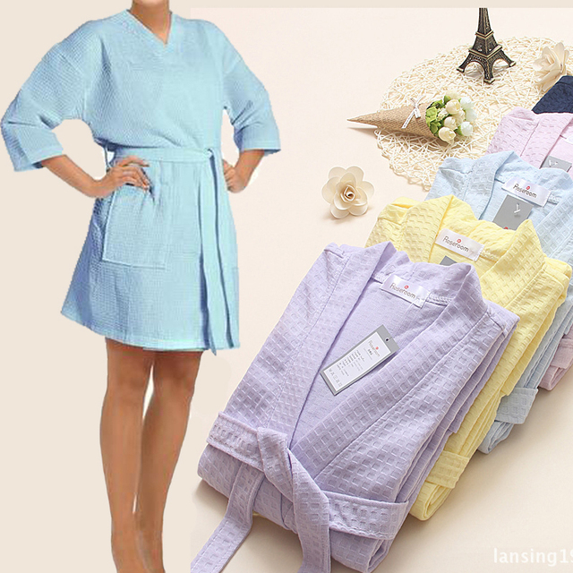 Towel Bath Robe Dressing Gown for Women Sleeve Solid Cotton Waffle Bathrobe Peignoir Nightgowns Robes Sleepwear