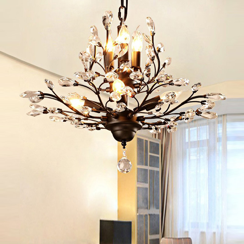 American Vintage K9 Crystal Flower Chandelier Lamp Home Deco Living Room Retro Iron E14 Bulb Light Fixture In Chandeliers From Lights Lighting