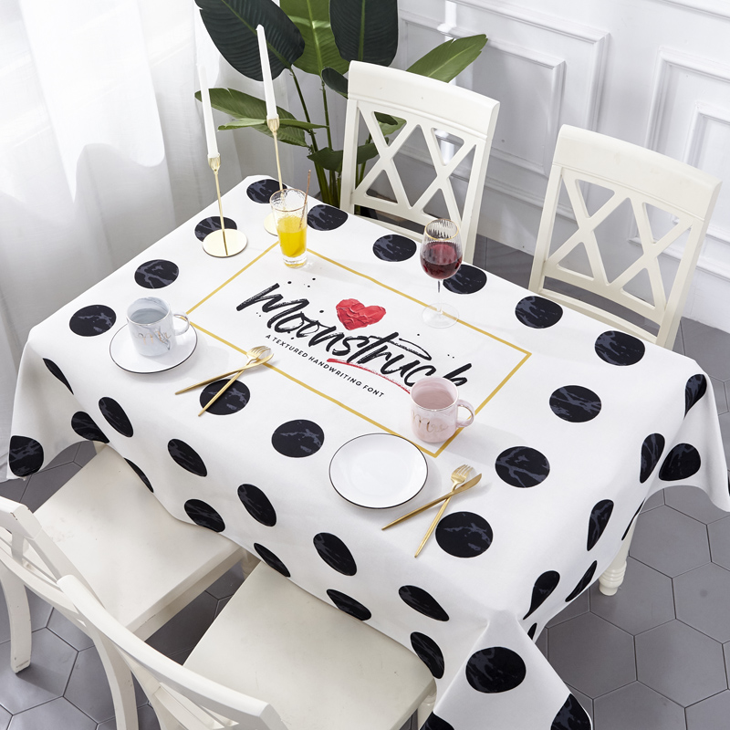 Idouillet Polka Dot Print Waterproof Oil Proof Spill Tablecloth Decoration Table Cover For Kitchen Square Rectangle Oblong In Tablecloths From Home