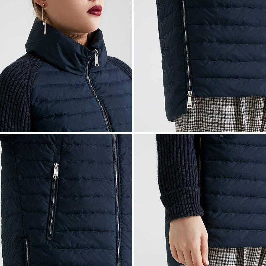 Image 5 - Miegofce 2019 봄과 가을 여성 코트 스탠드 칼라 짧은 코트 여성 얇은 windproof 니트 슬리브 따뜻한 자 켓베이식 쟈켓   -
