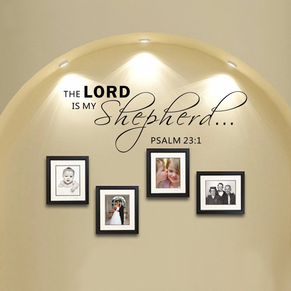 Scripture Wall Decals - The LORD is my shepherd PSALM 23:1 Vinyl Wall Quote Decal Bible Verse Decor 86.36cm x 33.02cm