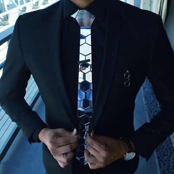 Sliver Necktie Men Slim Floral Pattern Plaid Metallic Bling Hexagonal Mirror Tie Brand Wedding Groom Suits Accessory Menswear - DISCOUNT ITEM  62% OFF All Category