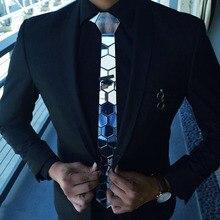 Sliver krawat mężczyźni dopasowana, w kwiaty wzór Plaid metaliczny Bling sześciokątne lustro krawat marki ślubne garnitury dla pana młodego akcesoria odzież męska