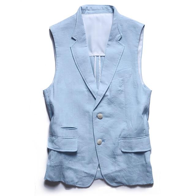 New Arrival Men's linen Clothing Single Breasted Notched Collar Waistcoat Man British Style Slim Fit Veste V-neck Suit Vests