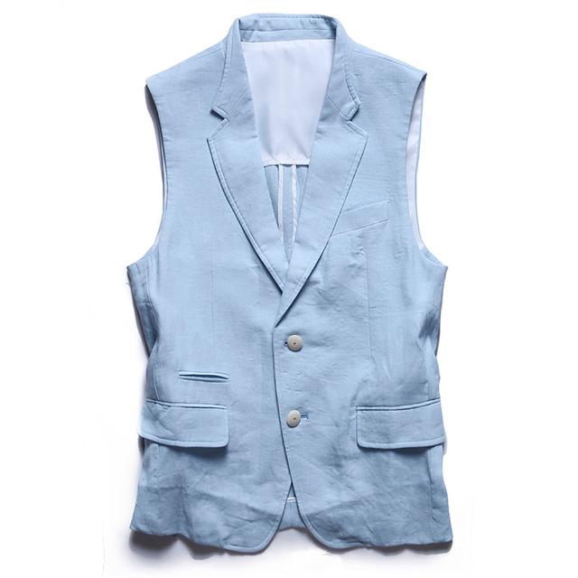 Nova Chegada dos homens de linho Roupas Único Breasted Entalhado Colarinho Colete Homem Estilo Britânico Slim Fit Veste Terno Com Decote Em V Coletes