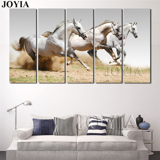 5 Piece Horse Painting Wall Decor Running White Horses Photo Arts ...