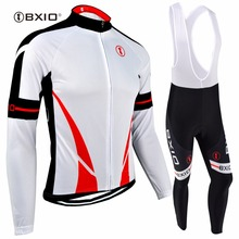 BXIO Cycling Jersey Set Ropa Ciclismo White Long Sleeve Bike Clothing Winter Thermal Fleece Cycling Sets Bicycle Sportswear 142