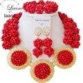 Sistemas de la joyería africana nupcial rojo opaco cristal nigeriano boda perlas laanc AL041