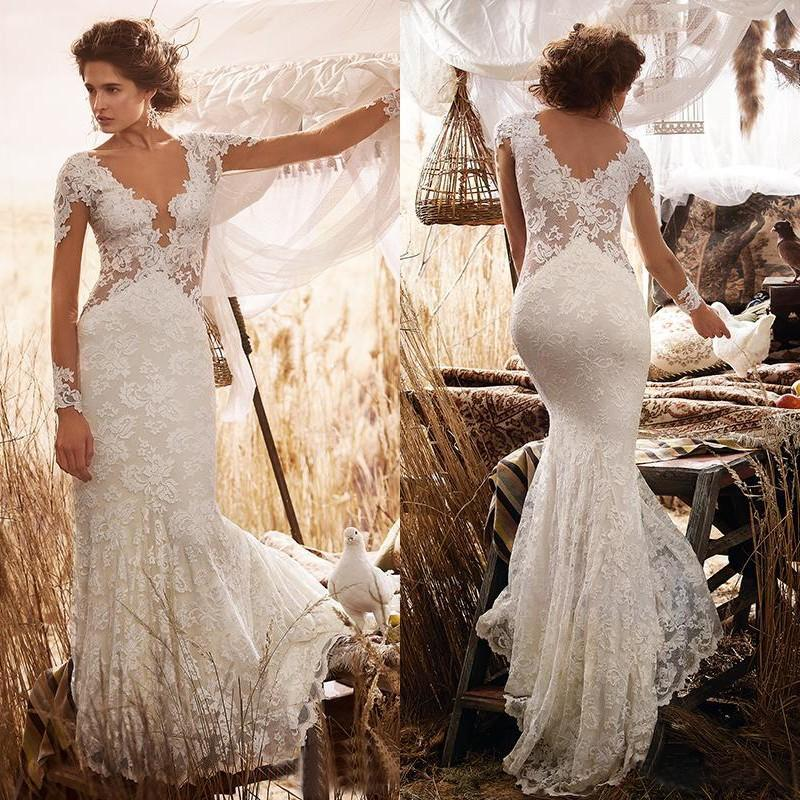 Sheer Lace Applique Long Sleeve Wedding Dress V Neck: 2017 Sexy New Plunging V Neck Wedding Dresses With Sheer