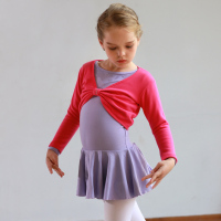 2 Pieces Girls Ballet Dance Skirt + Velvet Shawl Sets Kids Long Sleeve Warm Sweater Top Coat Child Ballet Dance Practice Skirt