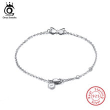 ORSA JEWELS 925 Sterling Silver Female Bracelets Butterfly Charm Lobster-claw-clasps Fashion Chain Bracelet Girl's Jewelry SB22(China)
