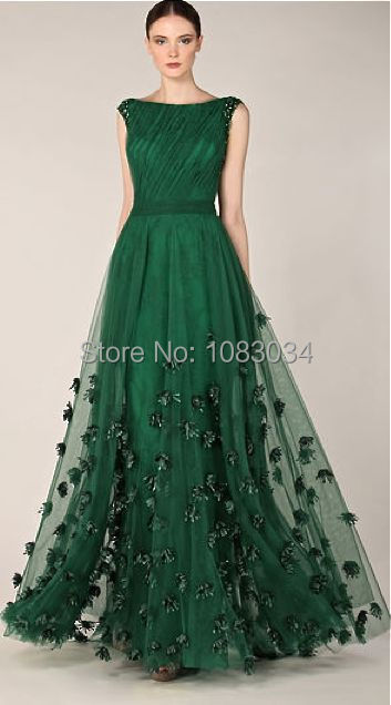 Fashionable Many Flowers Tulle A Line Dark Green Prom Dress Designer