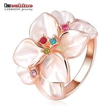 LZESHINE divat ékszer virággyűrű rózsaszín színű osztrák kristály fekete zománc virág / esküvői gyűrű nők részére Ri-HQ1006