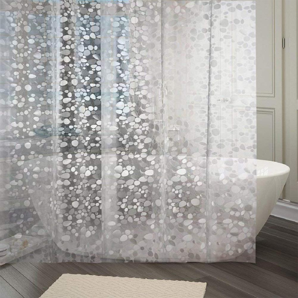 Pebble Pattern Waterproof Polyester Fabric Shower Curtain Thick Washable Bathroom Curtains Mold Resistant Quality Bath Curtain