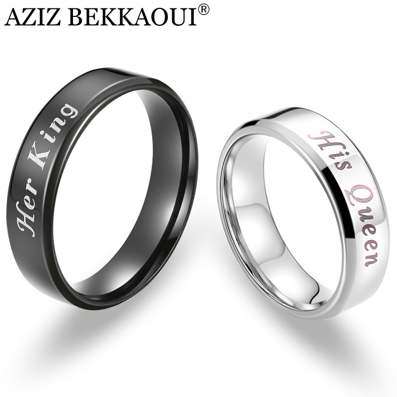 Couple-Rings Queen Bands Wedding-Jewelry Stainless-Steel King AZIZ BEKKAOUI Free-Engrave