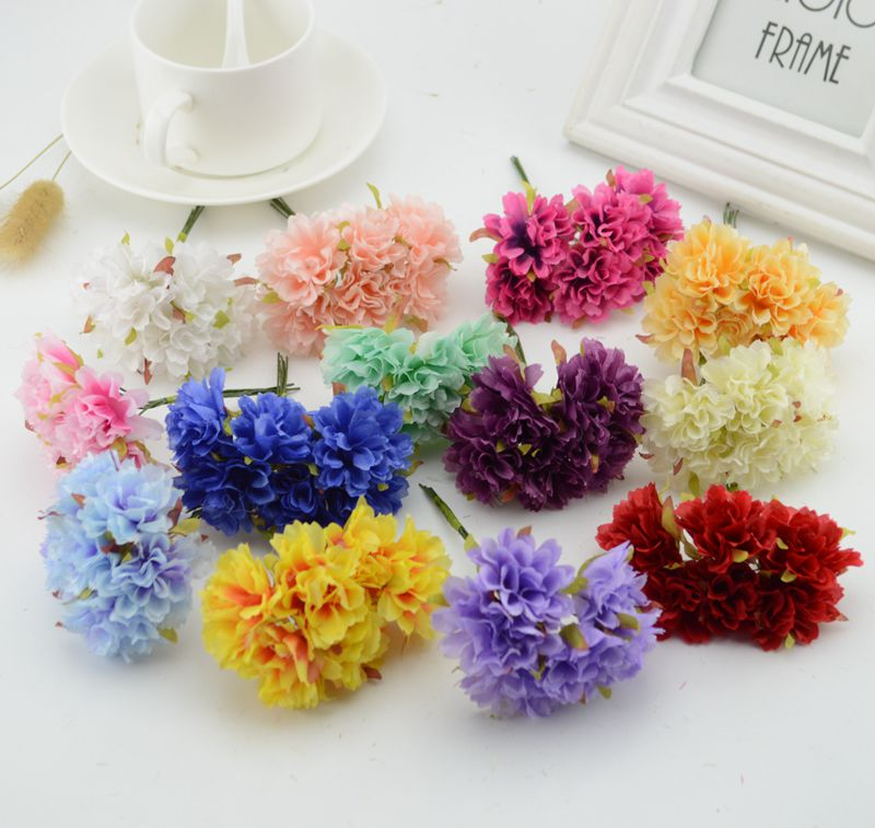 6pcs carnation fake flower silk cheap artificial flowers for Artificial flower decoration for home