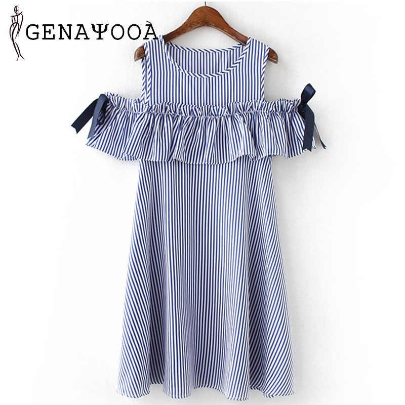 Plus Size Dress Big Sizes Women Dresses Blue Striped Off Shoulder 3XL 4XL 5XL 6XL A-line Bow Summer Dress Plus Size 2018 Vestido