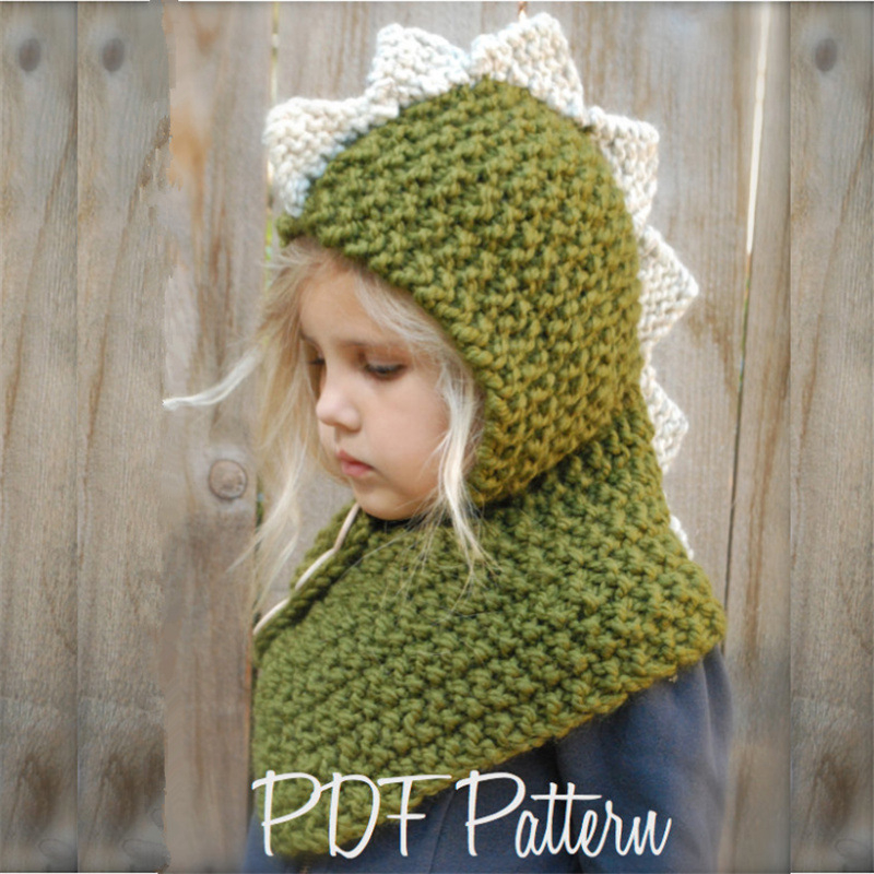 IANLAN Winter Girls Knit Hats Scarves Children Warm Sets Thickening Cartoon Dinosaur Cute Kids Caps Hooded Mufflers IL00185