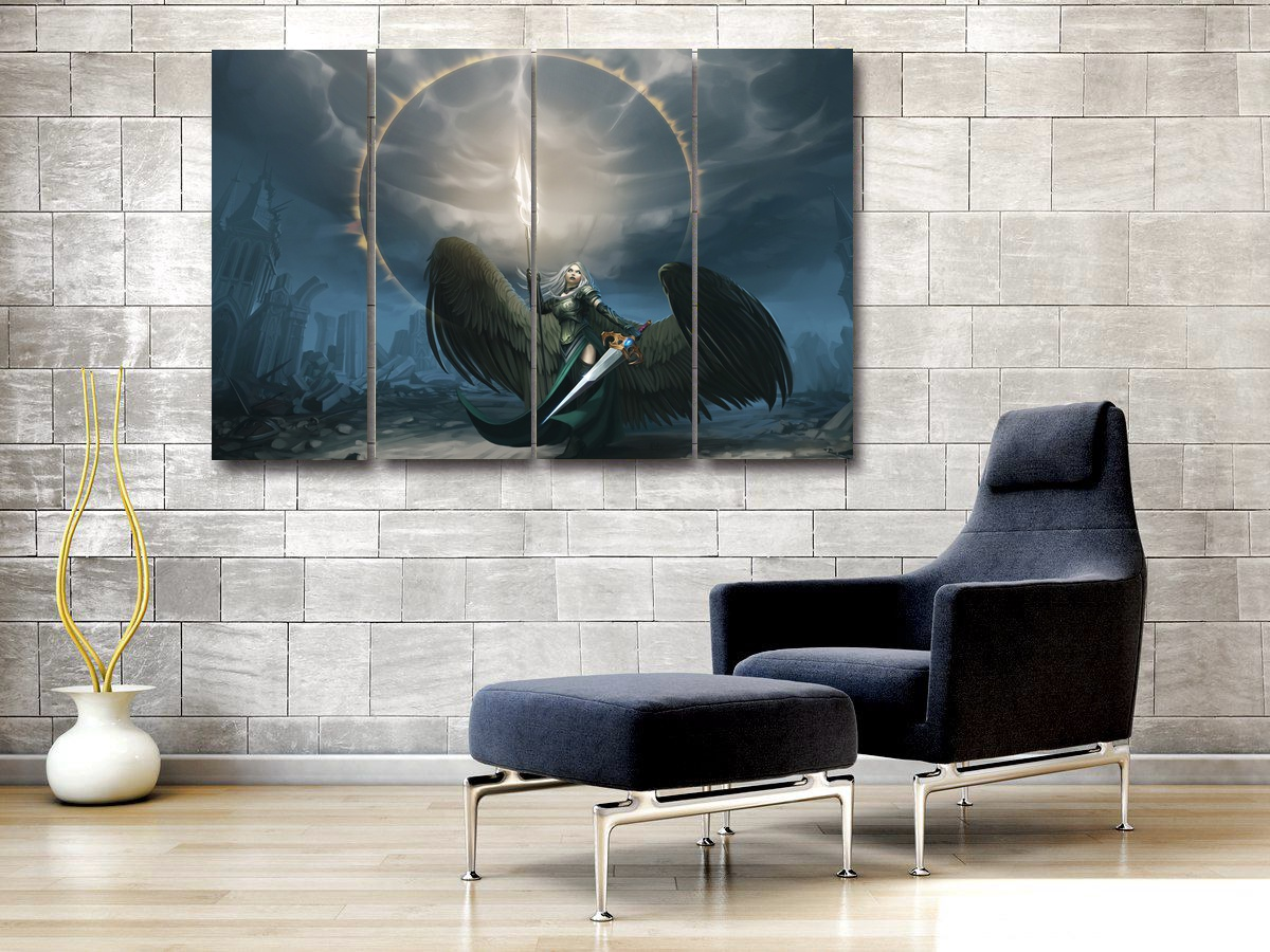 Canvas Modular Poster Painting 4 Pieces Magic The Gathering Swords for Living Room Wall Modern Art Home Decor Pictures