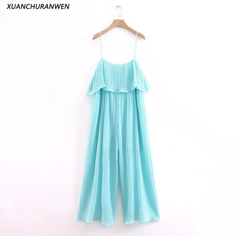 Fashion Loose Pleated Chiffon Jumpsuits Women Spaghetti Strap Backless Straight Pants Rompers Ladies Long Jumpsuits XZ1977