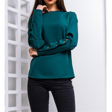 Women's Blouse Spring Autumn Casual Fashion Button Sleeve Shirt Ladies Slim O Neck Solid Color Pullover Long Sleeve Tops Blusas