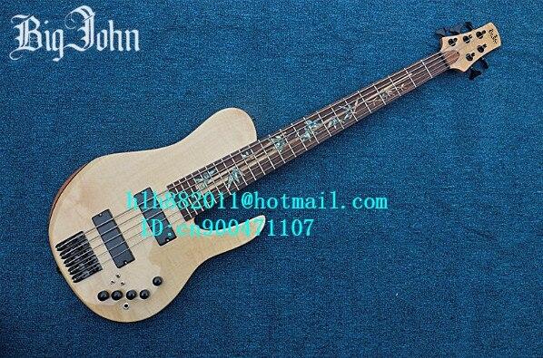 Livraison gratuite nouvelle guitare basse électrique Big John the 5 cordes en couleur naturelle avec JT-13 de ramassage passif